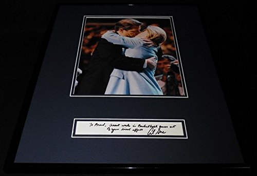 (Al Gore Signed Framed 16x20 Note & Photo Set The Tipper Kiss)