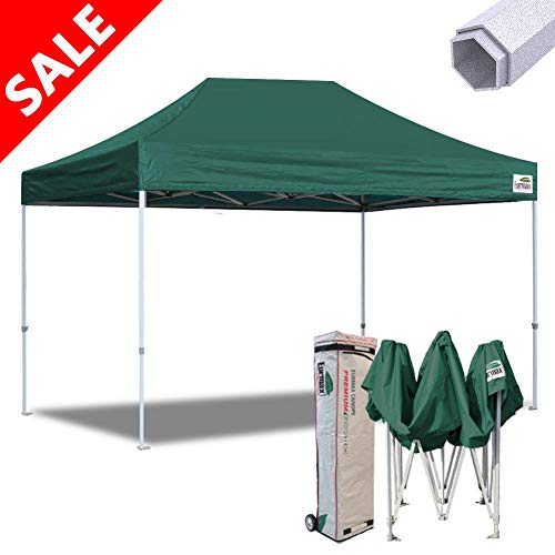 Commercial Grade Green - Eurmax 10x15 Ft Premium Ez Pop up Canopy Instant Canopies Shelter Outdoor Party Gazebo Commercial Grade Bonus Roller Bag (Forest Green)