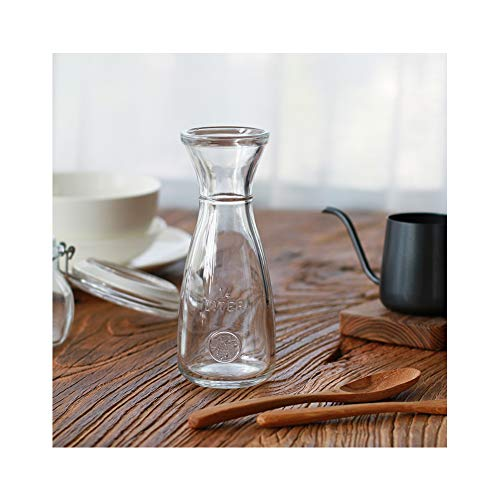 - Wine Carafe - Elegant Clear Glass Carafe For Water, Juice, Milk, Coffee, Iced Tea - Wide Mouth Serving Decanter Dispenser For Restaurants & Home Use -Turkish imports (8.5 ozs)