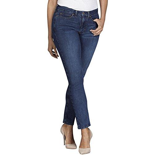 Dickies Premium Denim - Dickies Women's Perfect Shape Denim Jean-Curvy Skinny Stretch, Stonewashed Indigo Blue, 16RG