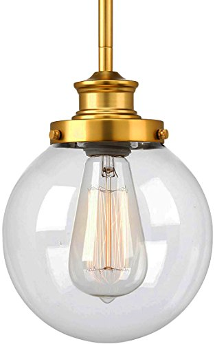 Satin Clear Pendant Gold (Luxury Vintage Pendant Light, Small Size: 9.5