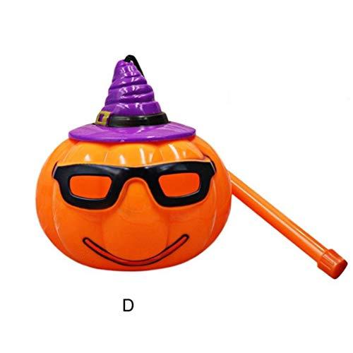 Livoty Halloween LED Pumpkin Light Lamp Voice-Activated Flashing Decor Lantern Prop Kids (D)