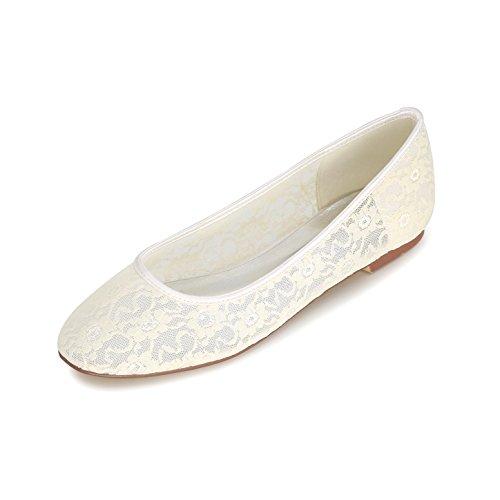 Plates 19E Mariage Ager Glisser Mariée Chaussures Ivoire 9872 Les À Cheville Ballet Flower Sur Dentelle De Chaussures La Dames Bride dqI0wxEwp