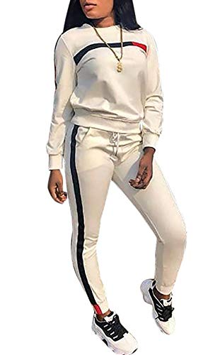 DingAng Women Tracksuit Set 2 Piece Outfit Stripe Tops Sweatpants Jogger Sets