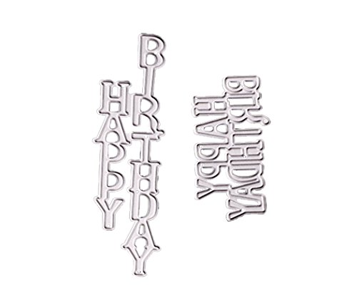 ZbFwmx Letter Happy Birthday Thank You Mr&Mrs Best Wishes Happy Anniversary Heart Metal Cutting Dies Stencil DIY Scrapbooking Embossing Tool DIY Paper Cards Album Decoration (Happy Birthday)