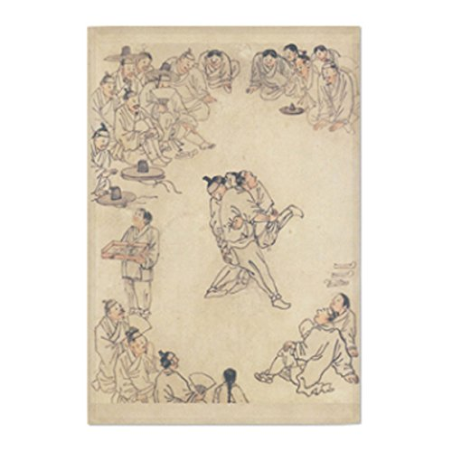 Masterpiece Painting Artwork Printed Cotton Cloth Fabric Prints Poster Flag Banner Wall Hanging Tapestry - Ssireum (Korean Wrestling) by Kim Heungdo (Large-37.40