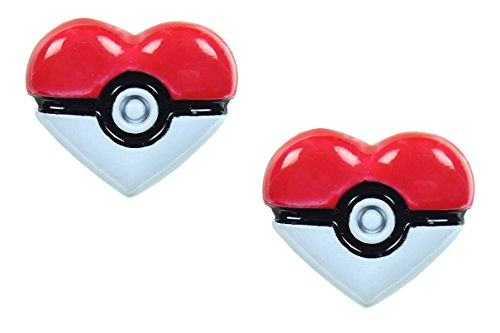 [Pokemon Pokeball Heart Stud Earrings] (Slowpoke Costume)