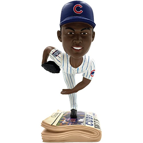 FOCO MLB Chicago Cubs Chapman A. #54 2016 World Series Champions Newspaper Base Bobble, Team Color, One Size