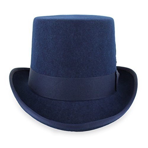 Belfry Topper 100% Wool Satin Lined Men's Top Hat in Black Available in 4 Sizes (Large, Navy)