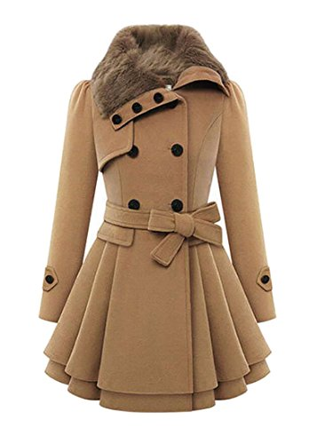 Belted Wool Blend - Yayu Women's Double Brested Coat Faux Fur Button Down Belted Wool Blend Pea Coat Khaki US 3XL