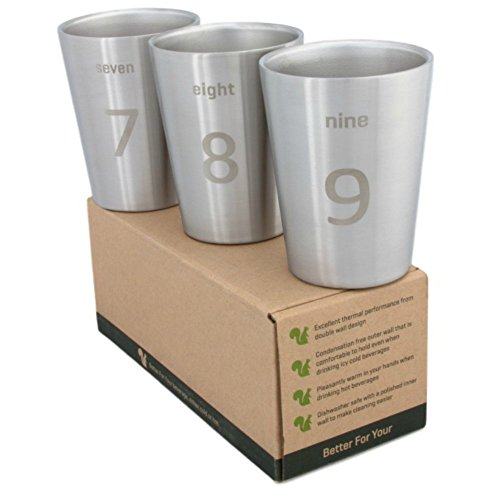 Squirrel Steel (Better For Your - Small Stainless Steel Double Wall Tumbler Cups, 8oz (250ml) - Set of 3 - Numbers and Words 7-8-9)