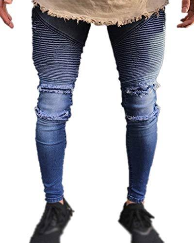 La Vaqueros Casuales Vintage Stretch Hombres Battercake Cómodo Denim Rasgados Slim Blau Pantalones Fit Los De Moda Destruidos wpqBZqT