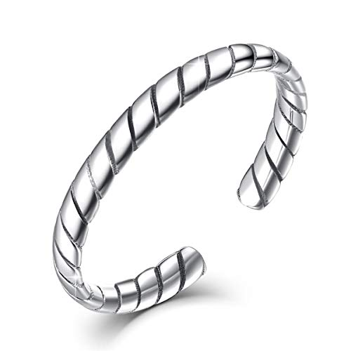 SIMPLOVE Adjustable Rings for Women,S925 Sterling Silver Retro Carve Braided Twisted Open Finger Ring Jewellery Gift ()