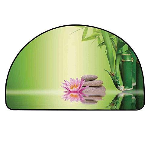 (YOLIYANA Spa Decor Half Round Door Mat,Zen Garden Asian Self Control Freshening Insight in Daily Life Mindful Activity Relax Print for Indoor Outdoor,13.7