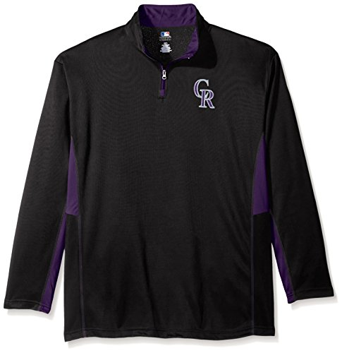MLB Colorado Rockies Men's Long Sleeved Quarter Zip Poly Jersey with Logo Embroided, X-Large/Tall, Black