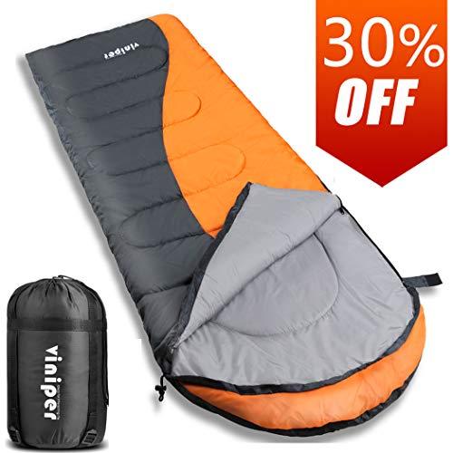 viniper Sleeping Bag, Comfort Waterproof and Lightweight Envelope Sleeping Bag with Compression Sack Perfect for 4 Season Traveling, Camping, Hiking, Outdoor Fit Kid Women Men (Orange)