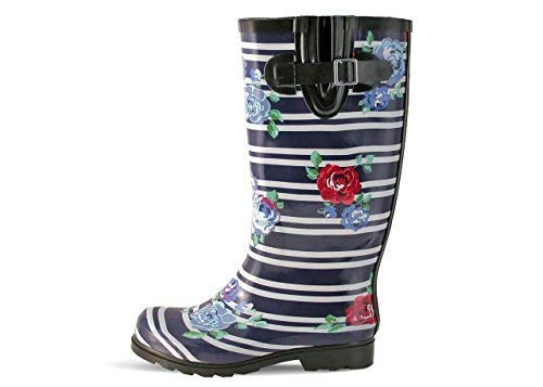 Nomad Women's Puddles Rain Boot B07CNQC8JN 5 B(M) US|Navy Stripes