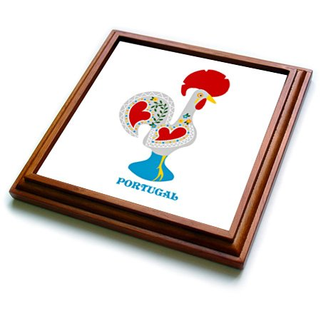 3dRose trv_160671_1 The White Portuguese Rooster or Galo De Barcelos Trivet with Ceramic Tile, 8