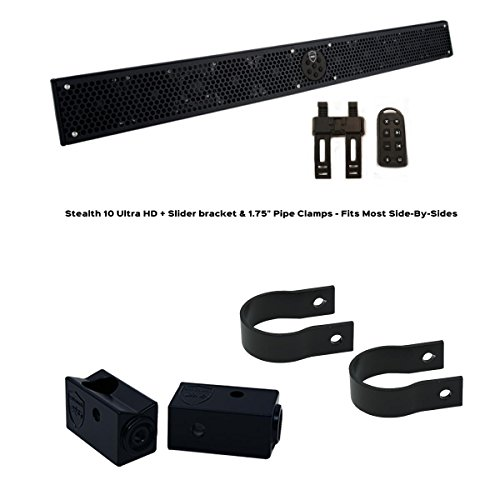 "Wet Sounds Stealth 10 Ultra HD Black + UTV Mounting Kit, Slider bracket and Round 1.75"" Tube clamp"