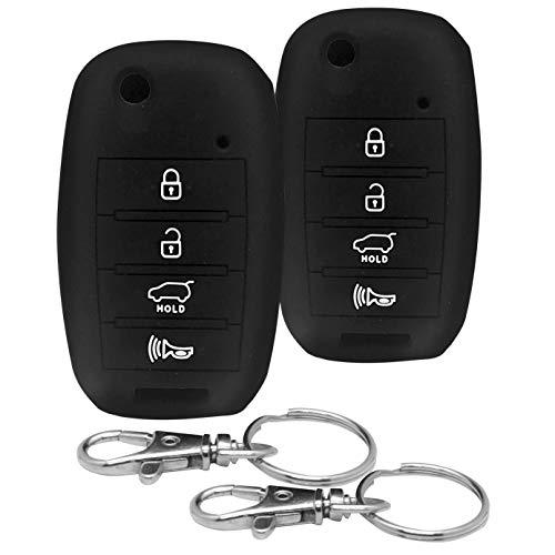 Kia Sedona Dealers - Good Life+Style 2 pcs KIA 4 Button Silicone Covers for Flip Keyless Entry Remote with Snap Hooks | Kia Key Fob Protector Cases for 2014 2015 2016 2017 2018 2019 Forte Optima Rio Sedona Sorento Soul
