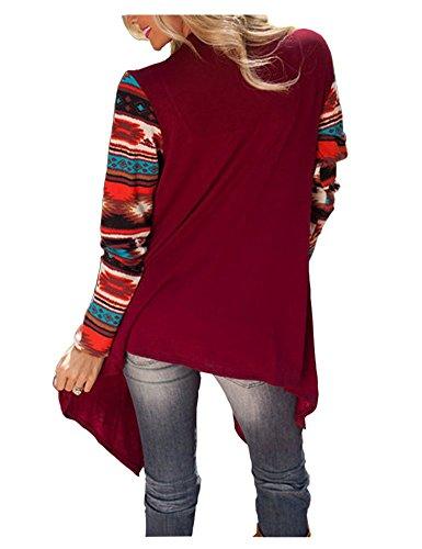 BienBien Tricot Jaquette Femme Veste Manche Kimono Longue Sweat Fluide Cardigan Boheme Asymetrique Imprim Automne Blouse Manteau Irreguliere Rouge Shirt Veste en Ouvert 4Bnwq4vrcI