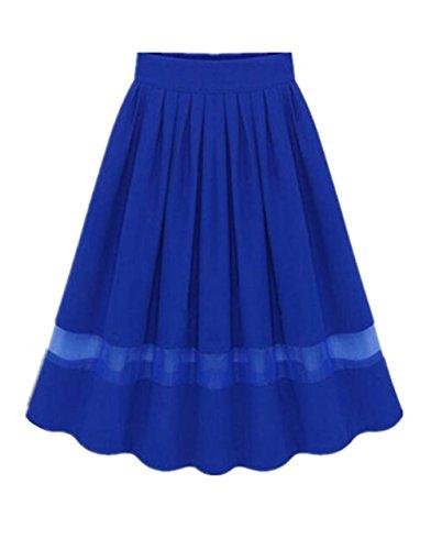Aoliait Femme Jupe en t Tendance Jupe Plisse Casual Jupe Mousseline ElGant Jupe A-Line Slim Fit Femelle Skirt Swing Jupe Blue