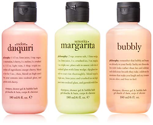 Philosophy Congrats! By Philosophy for Women - 3 Pc Set 3 X 6oz Shampoo, Shower Gel & Bubble Bath - Senorita Margarita, Melon Daiquiri, Bubbly, 3count