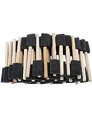 50 stycken skumborstar, skumfärgborstar skumsvampborstar, skumsvampfärgborstar med trähandtag lämpliga för akrylfläckar hantverk lacker