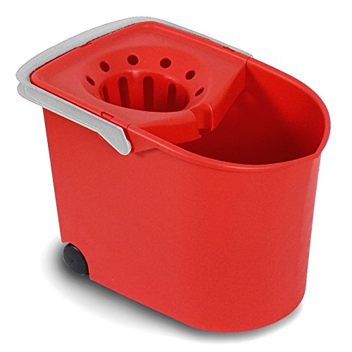 TATAY Rectangle Squeezer Bucket with Wheels, Red, One Size