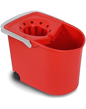Tatay 1103209 Cubo de Fregar con escurridor y con Ruedas, Rojo, 25.50x38.