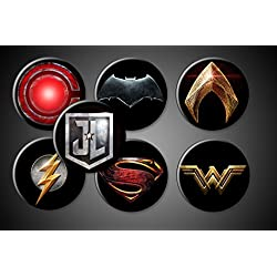 "Justice League Magnets or Pins DC Comics Superhero Symbols Set of 7 Batman Superman Wonderwoman Aquaman Flash Cyborg (1"" Inch Round, Pinback)"