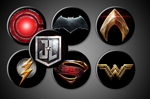 Justice League Magnets or Pins DC Comics Superhero Symbols Set of 7 Batman Superman Wonderwoman Aquaman Flash Cyborg (1.75