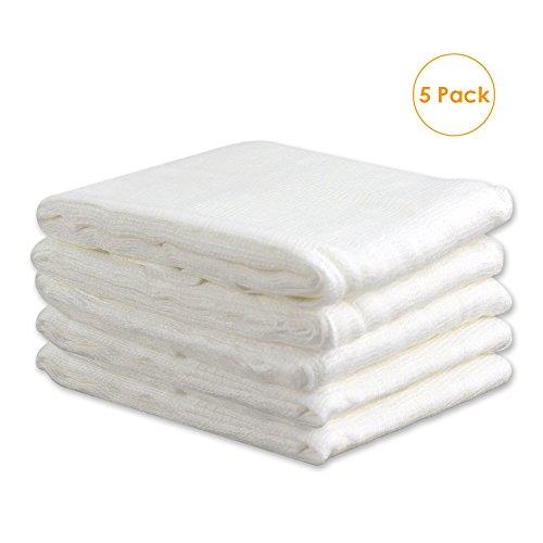 Esnow 5pcs 100% Ungebleichter Baumwoll-Cheesecloth Wiederverwendbarer Filter oder Sieb für Weihnachtsdekorationen, Kochen, Käse herstellen, Spinnmutter, Basting Türkei, 20 SqFt / 3 Yards