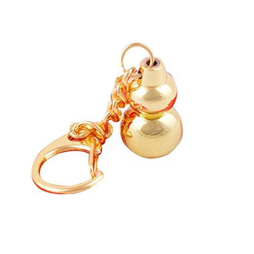 (Feng Shui Product-Golden Brass Wulou Wu Lu Gourd Hulu Keychain + Free Red String Bracelet W1182)