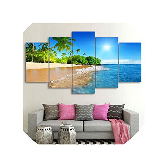 violet flower Wall Art Decor Living Room Framework 5 Pieces Sea Water Palm Trees Sunshine Seascape Modular Paintings Canvas Pictures HD Prints,10x15 10x20 10x25cm,Frame