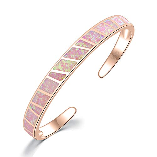CiNily Womens Cuff Bracelet-Pink Opal Bangle Bracelets Rose Gold Plated Hypoallergenic Birthstone Bracelets Ladies Gemstone Bangle Bracelet