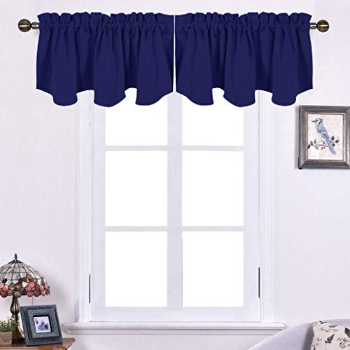 NICETOWN Blackout Valance Tier for Bedroom - 52-inch by 18-inch Scalloped Rod Pocket Window Curtain Valance for Cafe, Dark Blue, One Piece (Bedroom Valances)