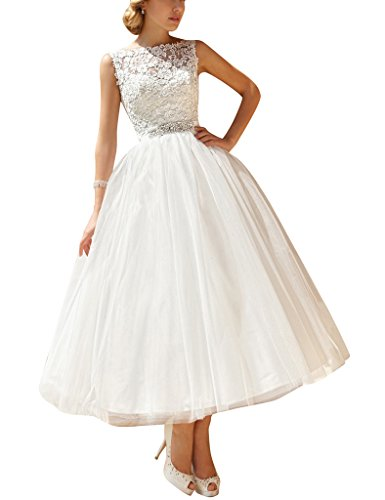 ASBridal Backless Wedding Dresses Tulle Appliques Long Formal Bridal Gowns White US 4