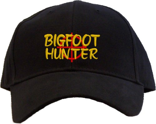 Bigfoot Hunter Embroidered Baseball Cap - Black