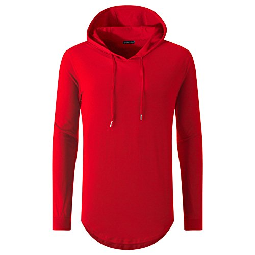UNRESTRAINED Mens Urban Hoodie T Shirts Side Zip Extended Tees Red XXL