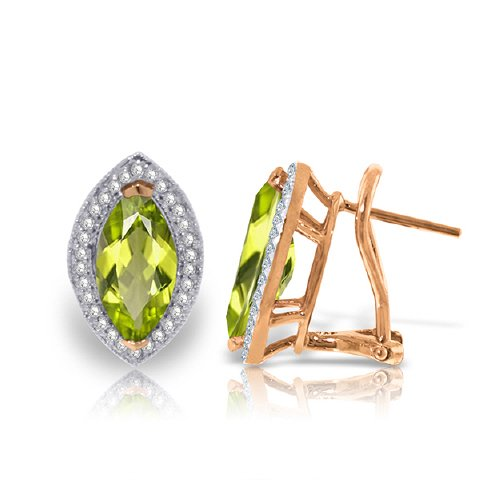 14k Rose Gold French Clips Earring with Diamonds and Marquis Shaped Peridots (Marquis Shaped Earrings)