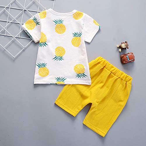 Toddler Baby Kids Boys Pineapple T-Shirt Tops Solid Short Casual Outfit Set by Sunsee (Image #1)