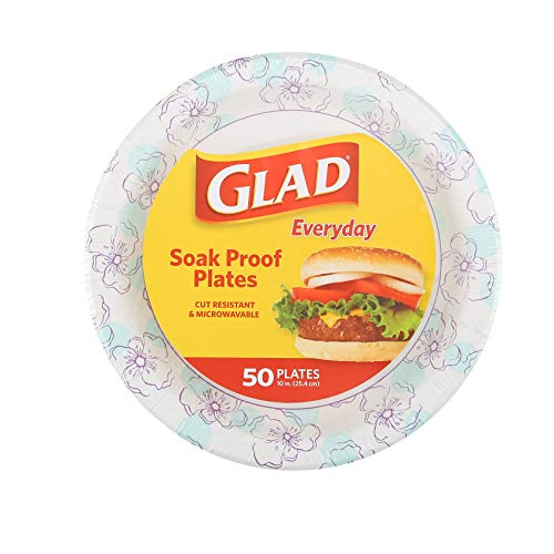 Glad Round Disposable Paper Plates 10 in, Blue Flower Soak Proof, Cut Proof, Microwave Safe Heavy Duty Paper Plates 10…