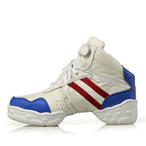 ZQ@QXLos modernos y cómodos zapatos de cuero suave transpirable ayuda alto zapatos de baile cuadrado white