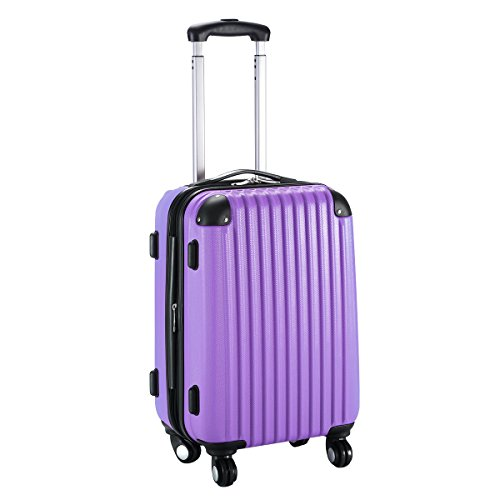 "Eight24hours 20"" Expandable ABS Carry On Luggage Travel Bag Trolley Suitcase Purple"