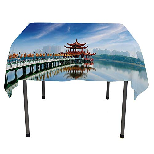Ancient China Decorations Waterproof Table Cloth Kaohsiung Taiwan Ancient Pagoda Heritage Religion Architecture Multicolor All Weather Outdoor Table Cloth Spring/Summer/Party/Picnic 36 by 36 ()