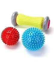 Rodillo masajeador de pies y bolas con pinchos – EYOBE rodillo muscular para fascitis plantar – Rodillo de ejercicio para muñecas y antebrazos para aliviar el dolor de brazos (1 rodillo + 2 bolas)-01