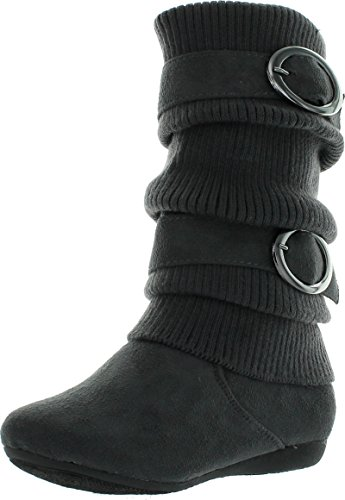 Lucky Top Girls Bank-21K Slouch Double Buckle Suede Boots with Zipper,Grey,13