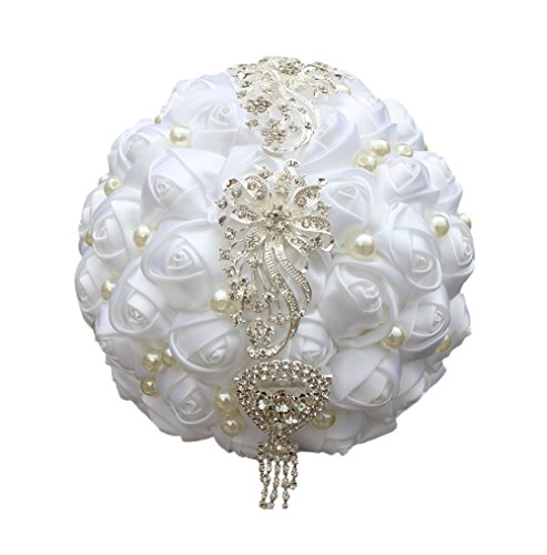 USIX Handcraft Popular Crystal Pearl Flower Satin Rose Brooch Bridal Holding Wedding Bouquet Wedding Flower Arrangements Bridesmaid Bouquet(White)