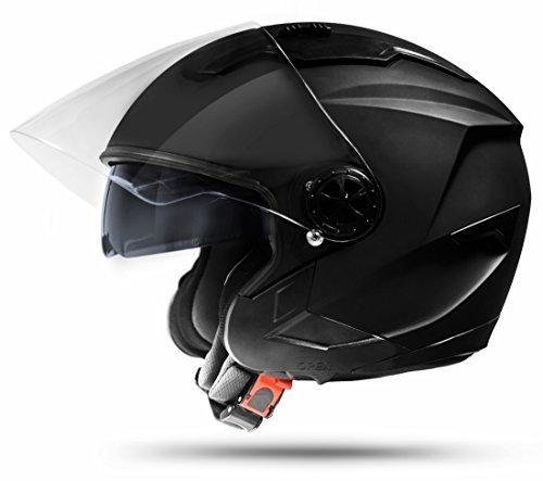 Jet Helm LA Street Motorradhelm mit Doppelvisier System Integrierte Visiermechanik 4 punkt Belüftung und neuster Sicherheitsnorm ECE 2205 Große: L 59-60cm